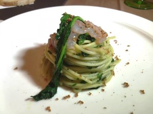 Spaghetto broccoli e gamberi rossi